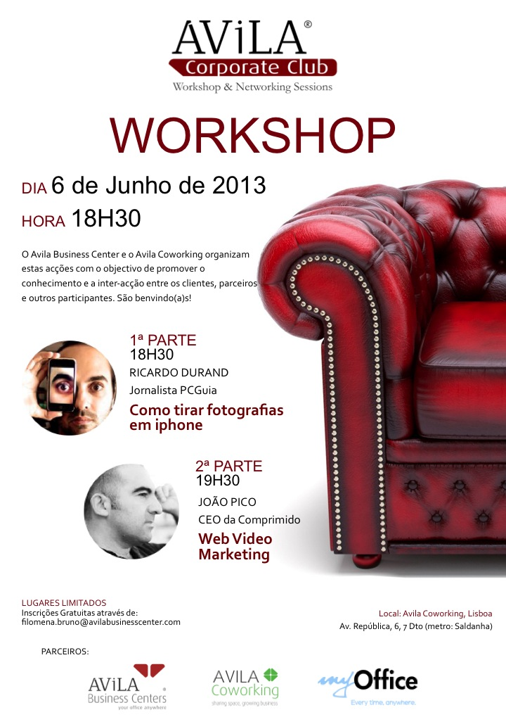 Workshop Gratuito: Como tirar fotografias através de iPhone e Webvideo Marketing - 6 Junho 18H30